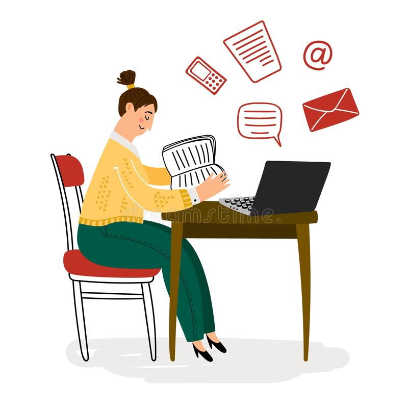 Young girl procrastination concept vector illustration