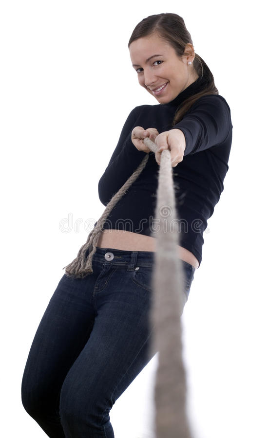 Young Girl Pulling Grey Rope, Tug-of-war Stock Photography