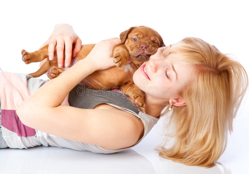 Young Girl With Puply Of Dogue De Bordeaux Royalty Free Stock Photos