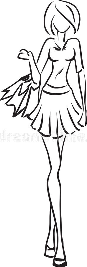 Download Young girl with purchases stock vector. Illustration of line - 34068580