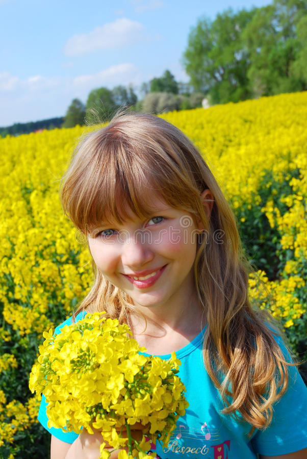 Young Girl In Field Royalty Free Stock Photos