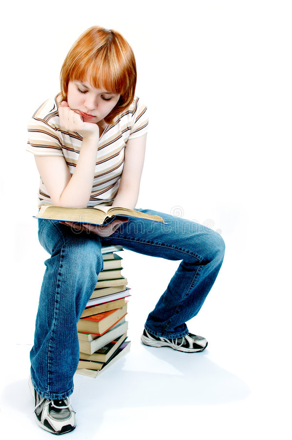 Download Young Girl Read The Book On White Stock Image - Image: 566597