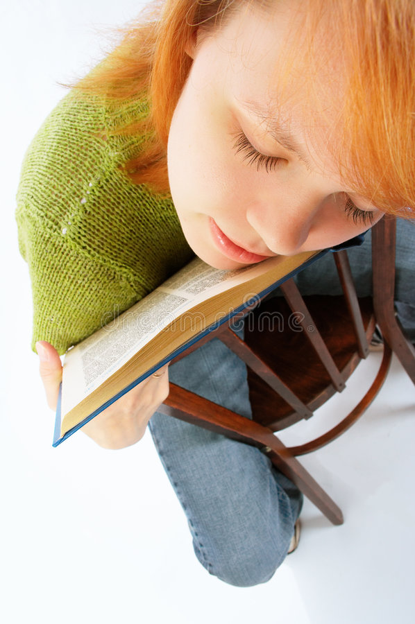 Download Young Girl Read The Book On White Stock Image - Image: 760045