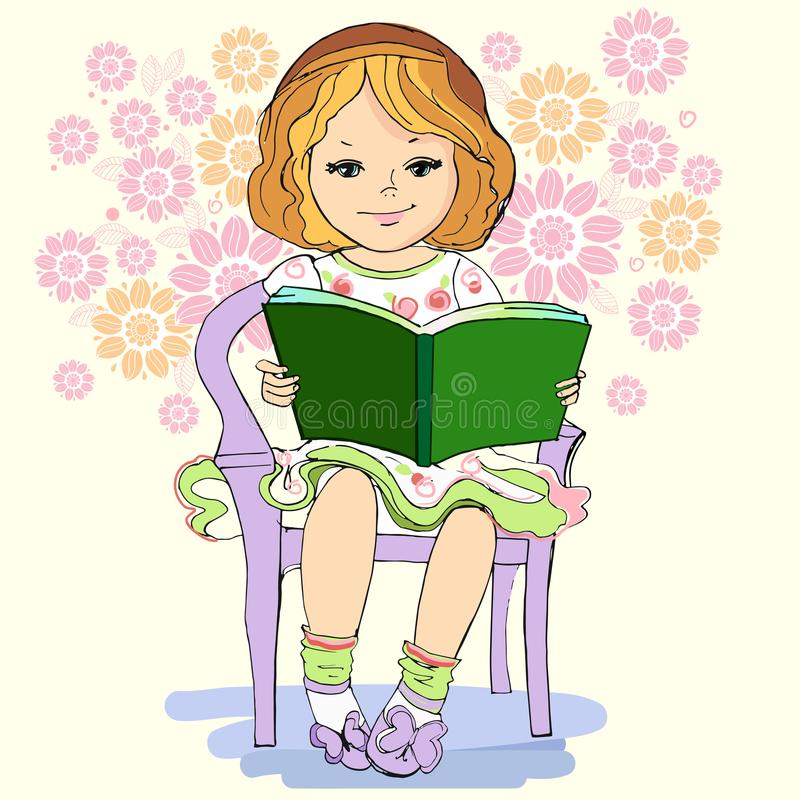 Young girl reading a book with flowers in the background. Vector vector illustration