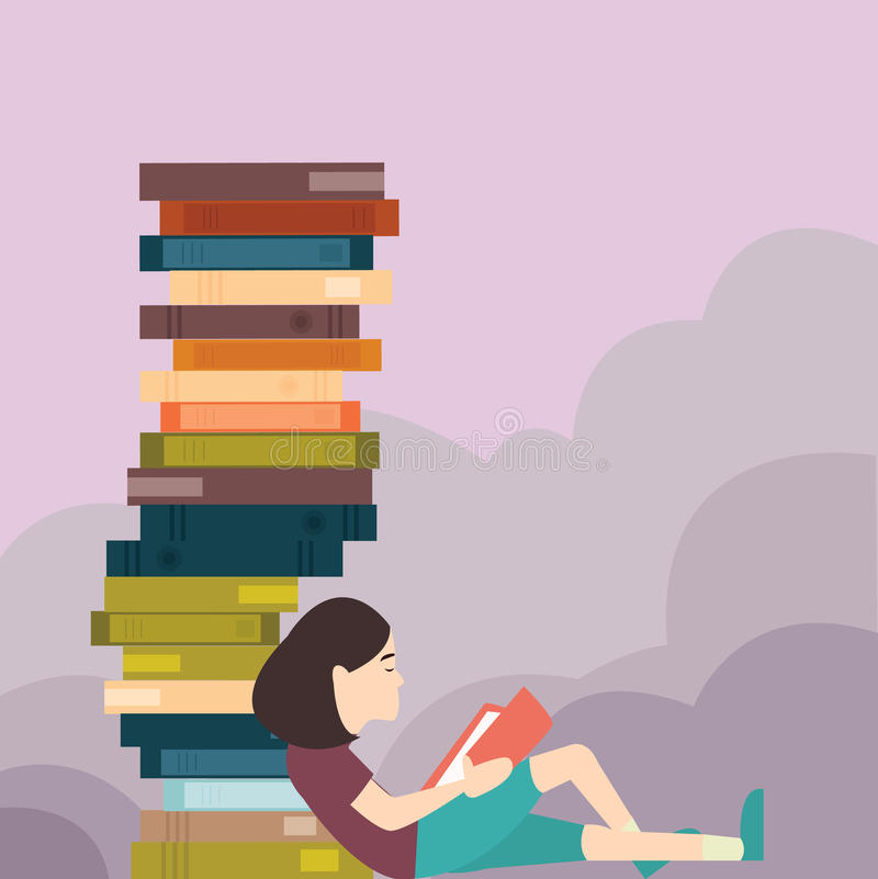 Young girl reading book with pile of book lot vector illustration
