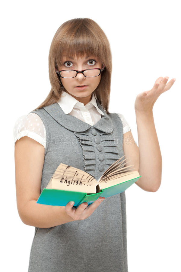 Download Young Girl Reads English And Is Amazed Royalty Free Stock Photos - Image: 11041378