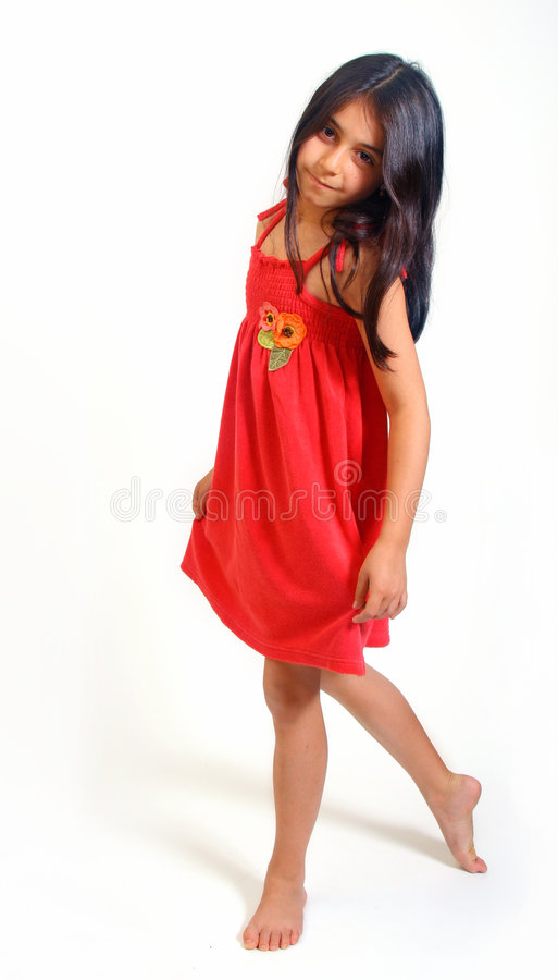 Young girl in red dress royalty free stock photo