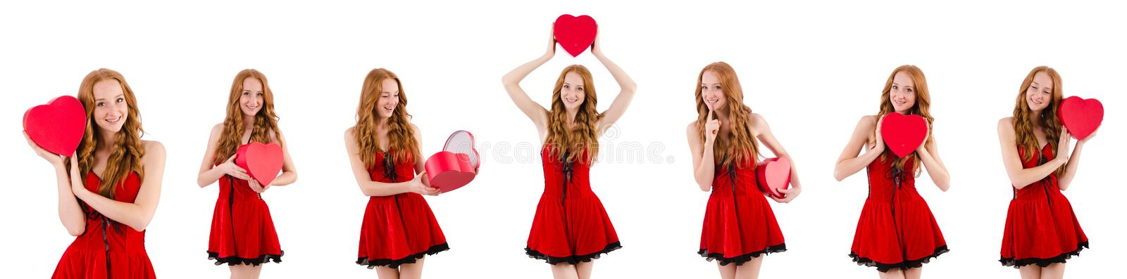 The young girl in red dress with heart casket isolated on white. Young girl in red dress with heart casket isolated on white royalty free stock photography