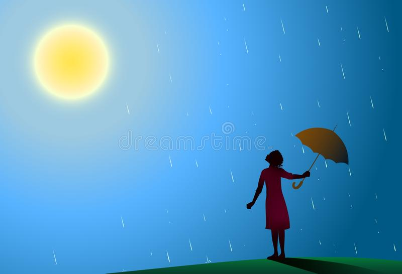 Young girl in red dress standing in the rain pulls aside red umbrella to look at bright sun, rain is over, vector illustration
