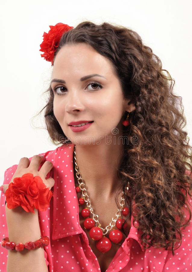 Download Young Girl With A Red Necklace, Bracelet, Hairpin On A White Background Stock Image - Image: 83700545