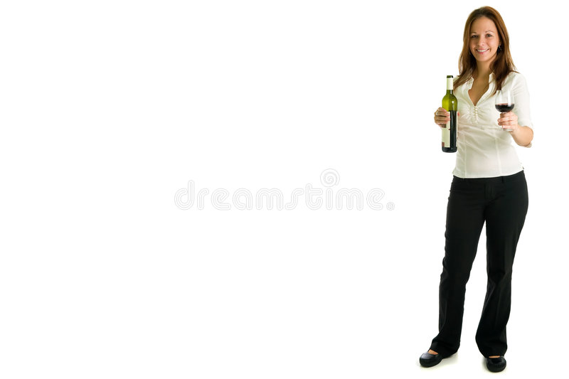 Young girl and red wine. Portrait of young businesswoman offering glass of red wine, isolated on white background royalty free stock images