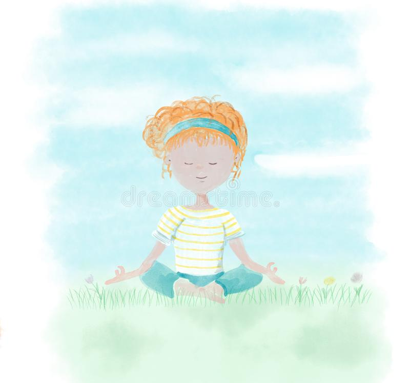 Young girl relaxing in the garden with yoga position - Hand painted in digital watercolor illustration isolated on white stock illustration
