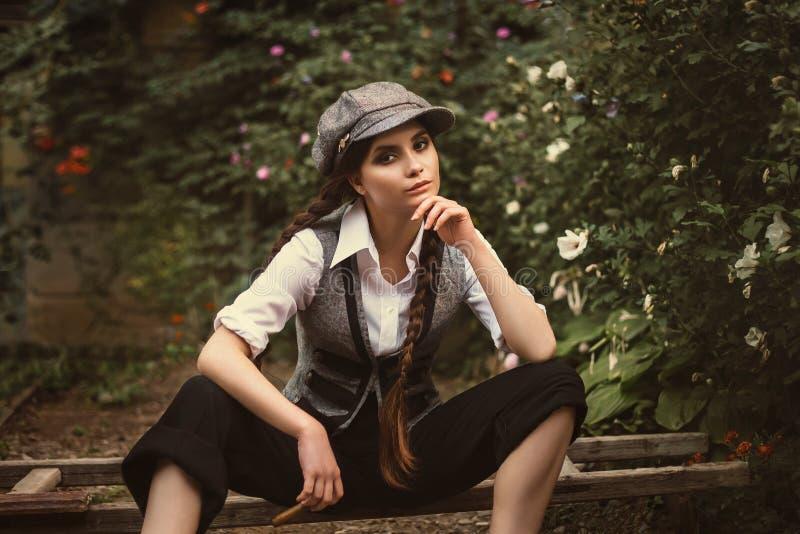 Retro fashion girl stock photos