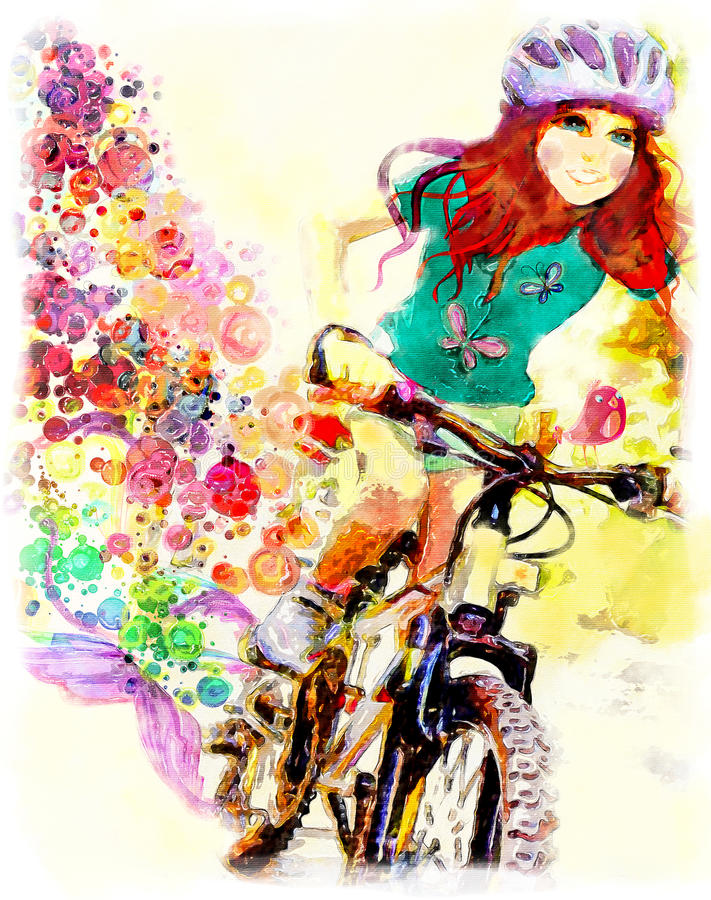 Young girl rides bicycle. Watercolor stock illustration