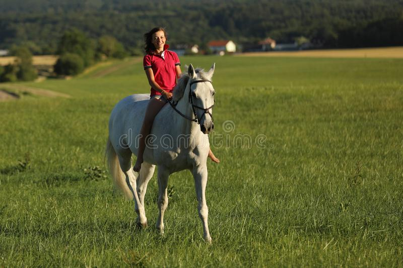Young girl on roan horse walk on meadow in late afternoon without saddle stock images