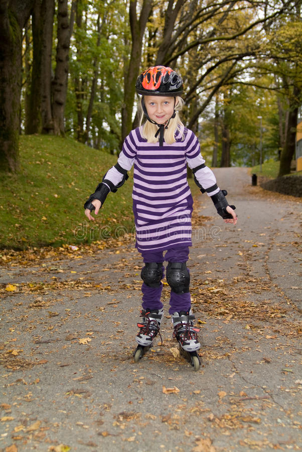 Download Young girl on rollerblades stock photo. Image of enjoying - 11400872