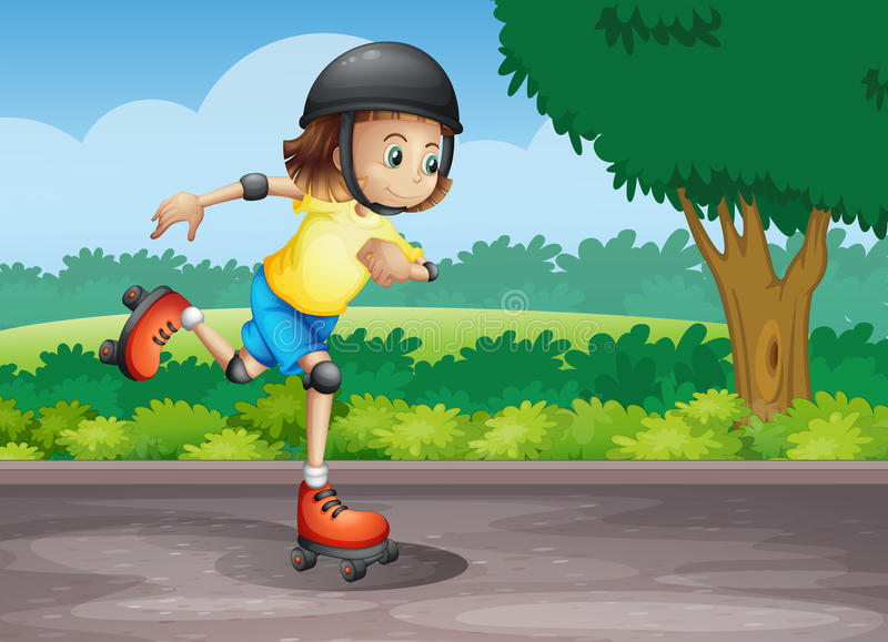 A young girl rollerskating at the street royalty free illustration