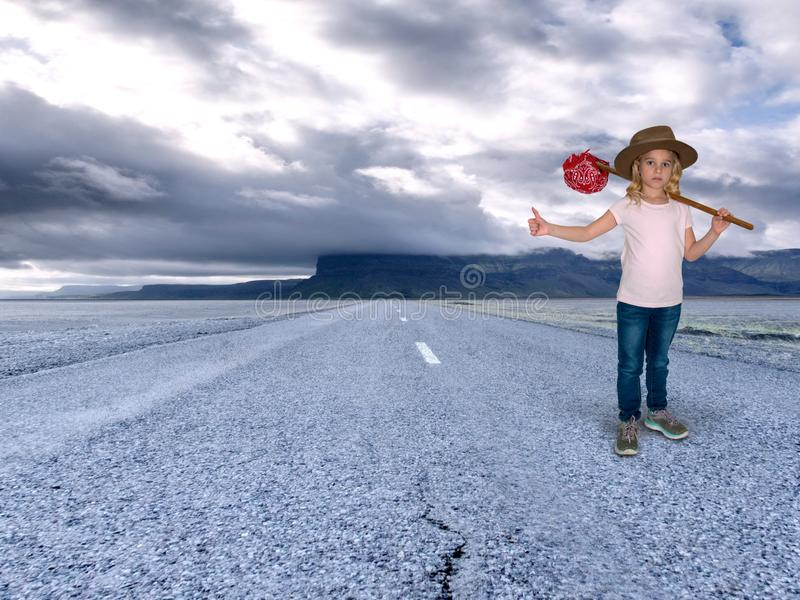 Young Girl Runaway, Lonely, Sad stock image