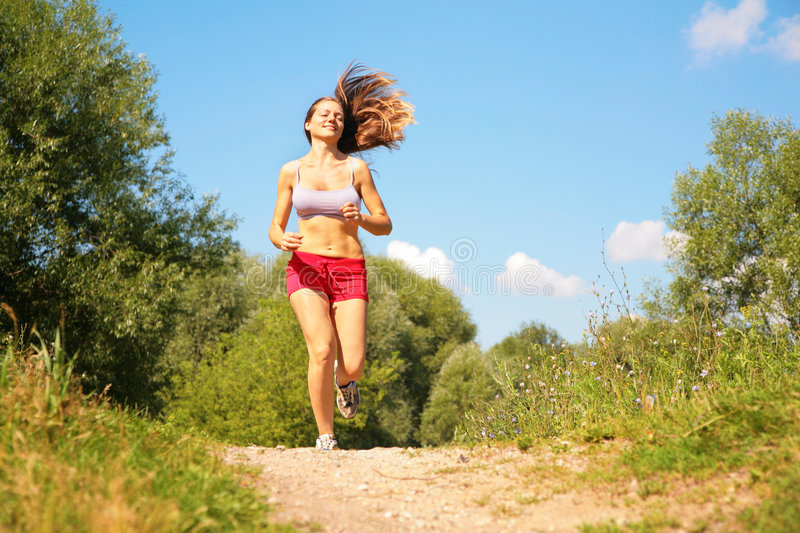 Download Young girl runs in forest stock photo. Image of medicine - 7092558
