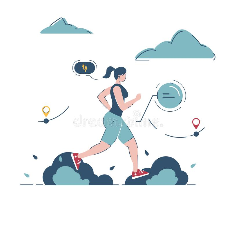 Young girl runs in nature. Sport, technology and fitness concept.  illustration. EPS10, female, device, woman, healthy, lifestyle, activity, beautiful, design vector illustration