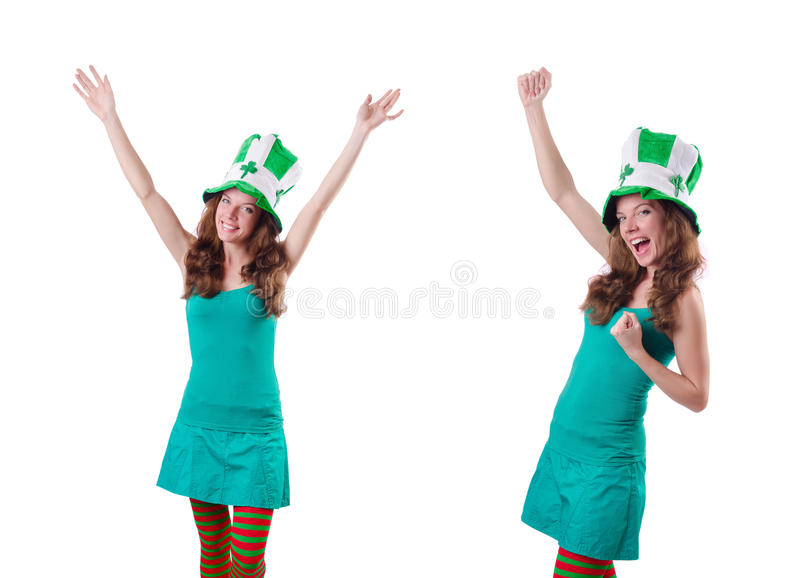 The young girl in saint patrick celebration concept. Young girl in saint patrick celebration concept stock image