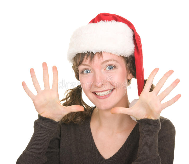 Download Young girl in Santa hat stock photo. Image of agree, female - 21349466