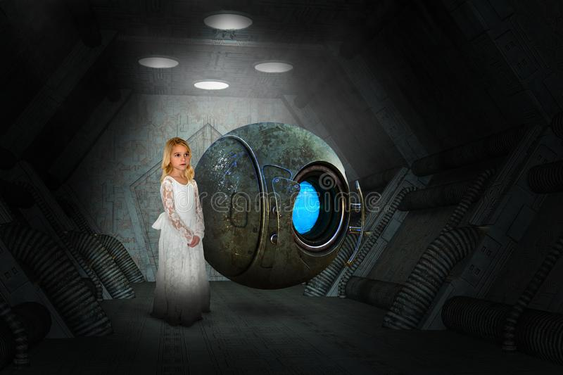 Science Fiction Fantasy, Space Ship, Girl, Robot. A young girl is in a science fiction fantasy scene with a robot drone on a spaceship in outer space. Surreal royalty free stock photography