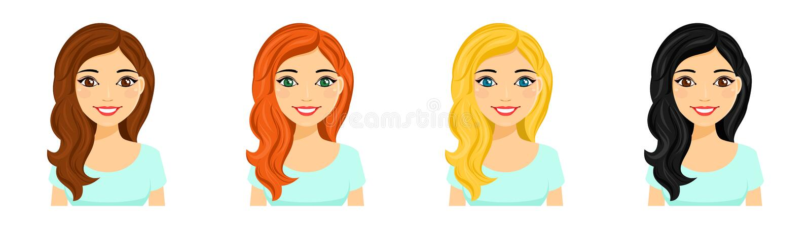 Young girl, set. Portraits of a smiling girl with different hair color stock photos