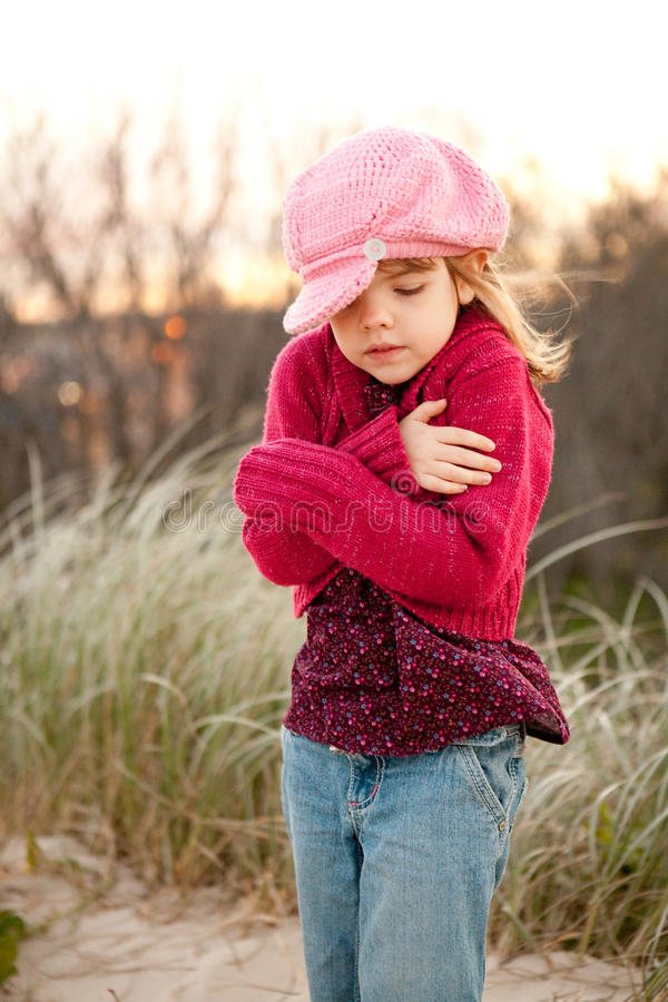Free Young Girl Shivering In The Countryside Royalty Free Stock Photos - 20228698