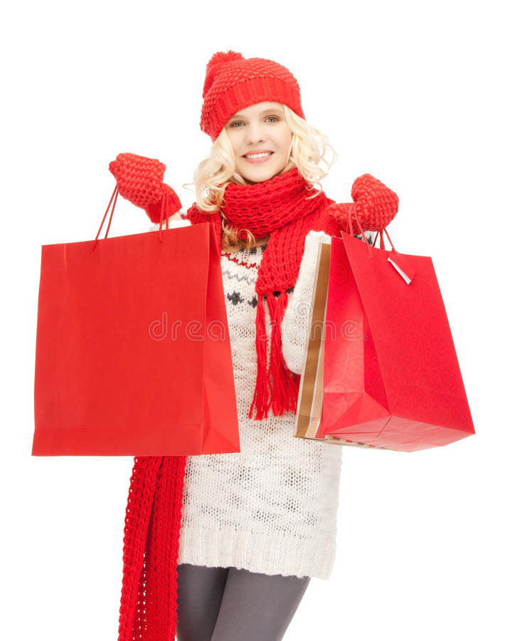 Young girl with shopping bags. Picture of young girl with shopping bags royalty free stock photography