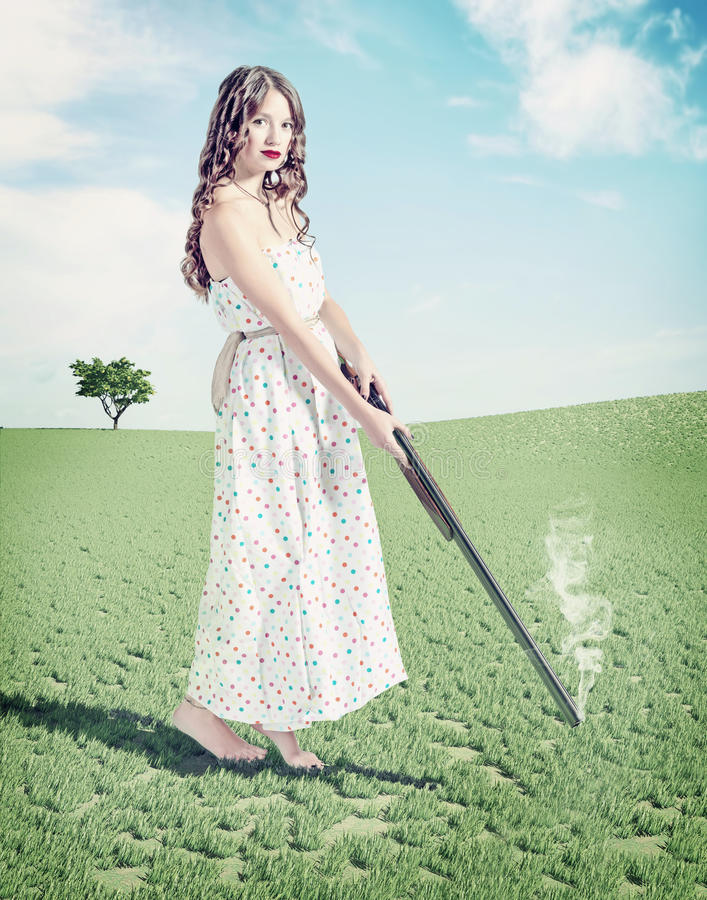 Young girl shot a hat stock illustration