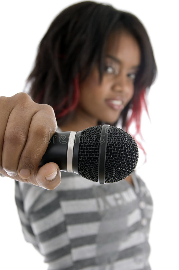 Young girl showing microphone royalty free stock photos