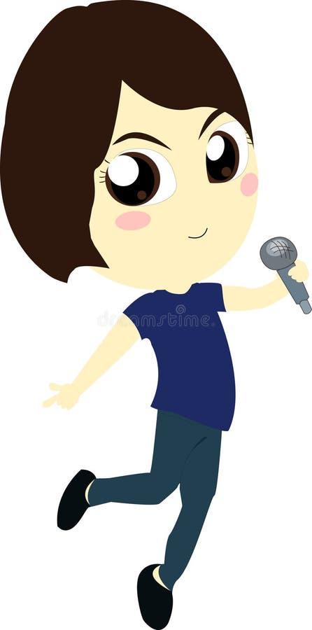 Young Girl Singer. In blue T-shirt stock illustration
