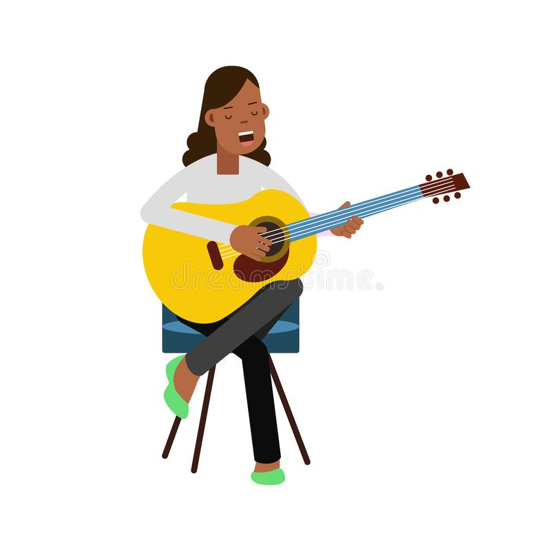 Young girl sitting on the chair, playing acoustic guitar and singing. Pop music singer, happy artist. Vector flat royalty free illustration