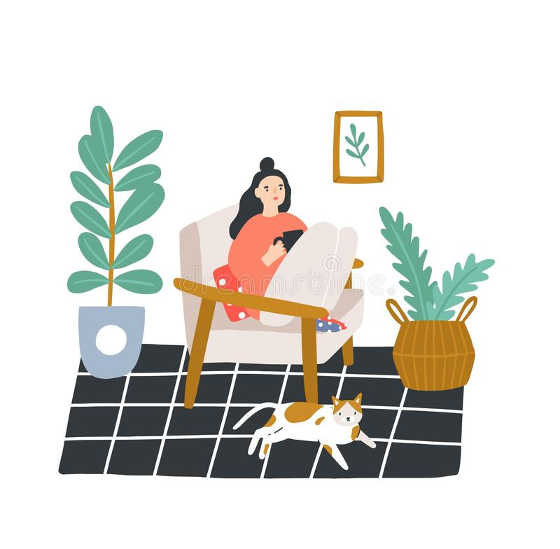 Young girl sitting in comfortable armchair and drinking tea or coffee in room furnished in Scandinavian style. Woman. Spending evening time at home. Colored stock illustration