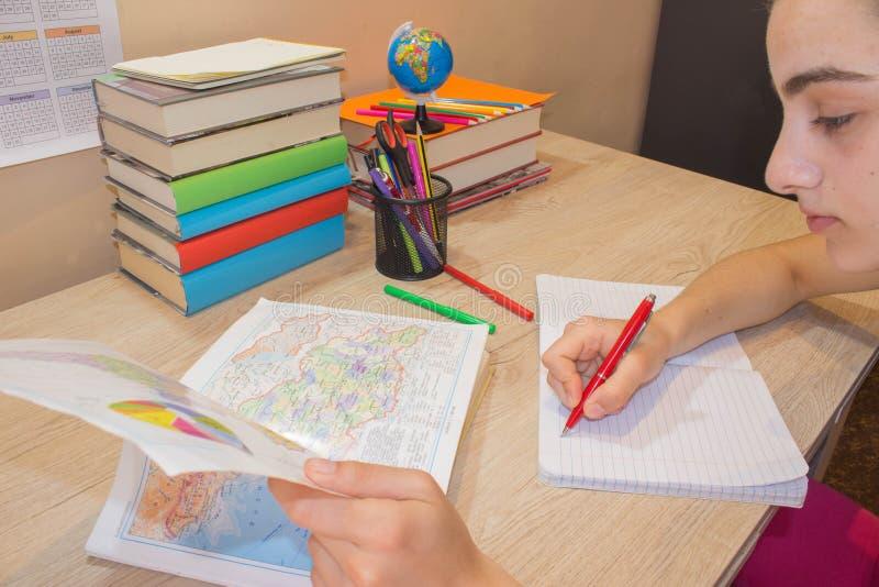 Girl doing homework stock photo. Image of class, school
