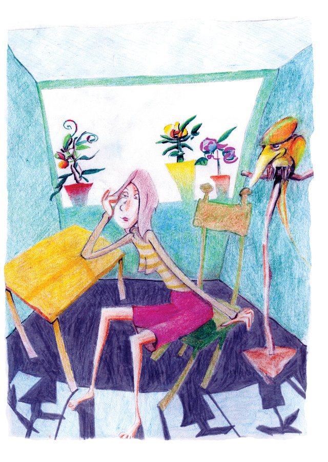 Young girl sitting in room with parrot royalty free illustration