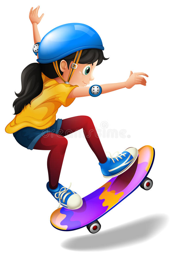 A young girl skateboarding royalty free illustration
