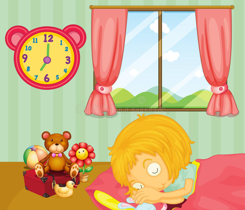A young girl sleeping soundly in her bedroom vector illustration