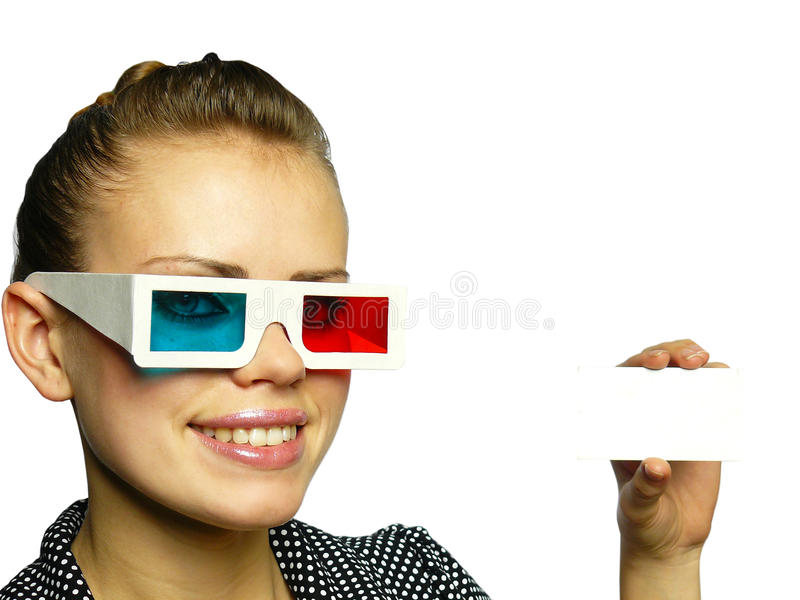 Young girl smiles in anaglyph points. Beautiful young girl smiles in anaglyph points royalty free stock photography