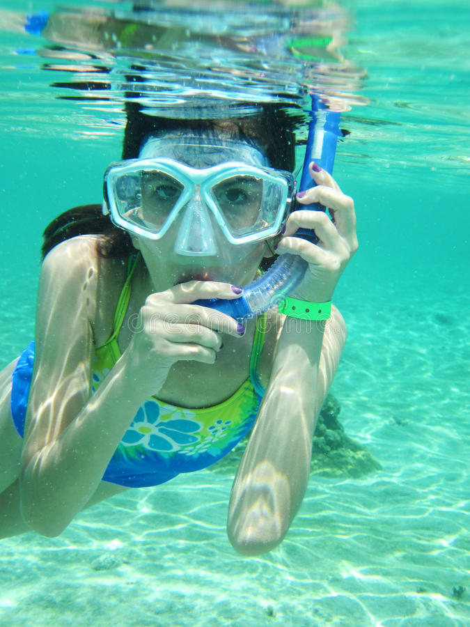 Download Young Girl Snorkeling stock photo. Image of underwater - 14829652