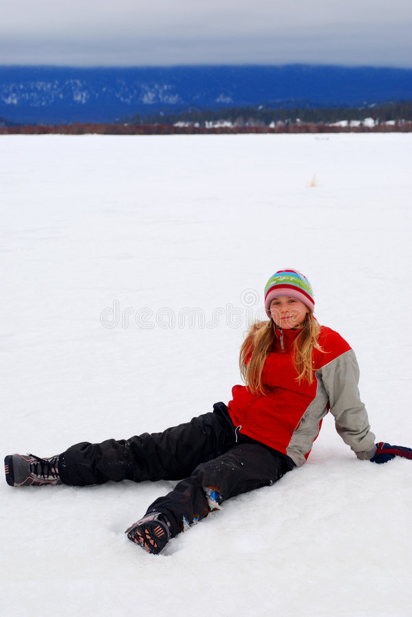 Young Girl In Snow royalty free stock photo