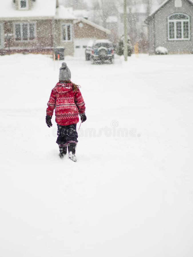 Young girl in the snow stock photography