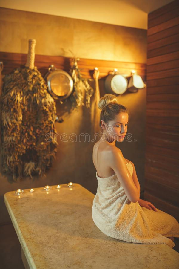 Young girl in spa stock photography