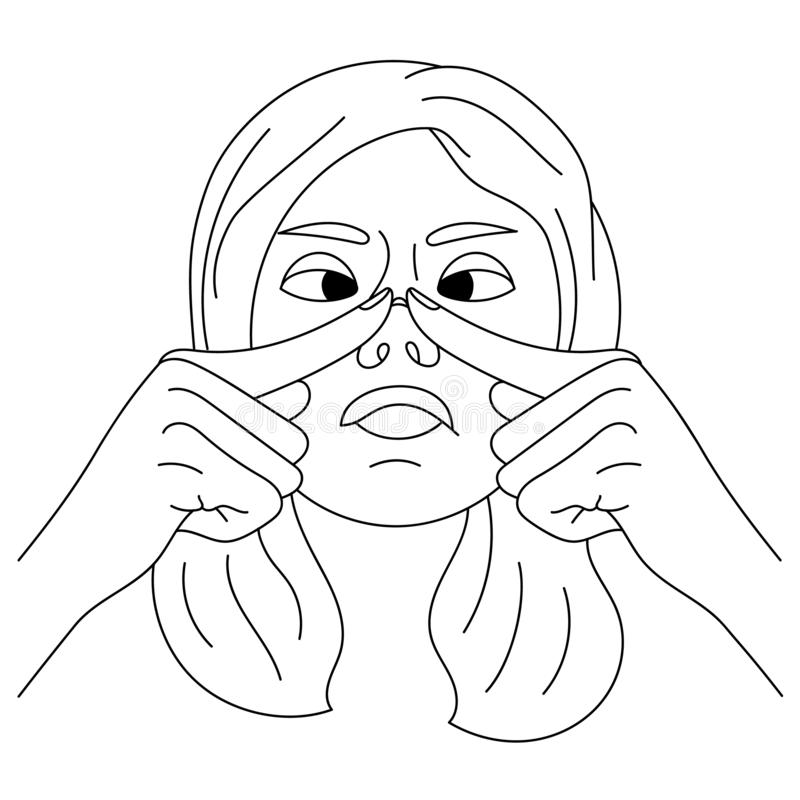Young girl is squeezing out a pimple on her face. Bothering acne. Skin problems. Woman skin care concept. Black and. White line drawing. Girl is touching skin stock illustration
