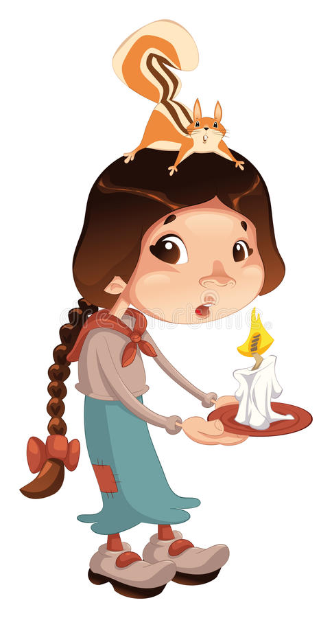 Young girl with squirrel and candle. stock illustration