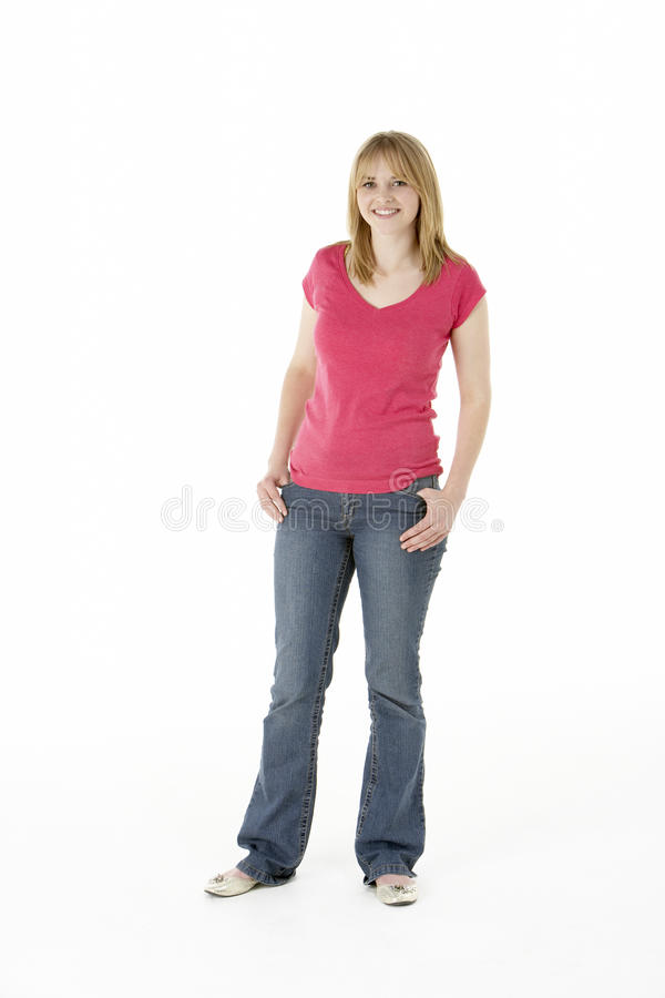 Young Girl Standing In Studio royalty free stock image