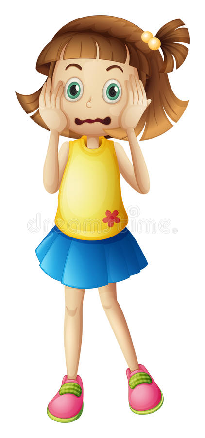 A young girl with a stress face vector illustration