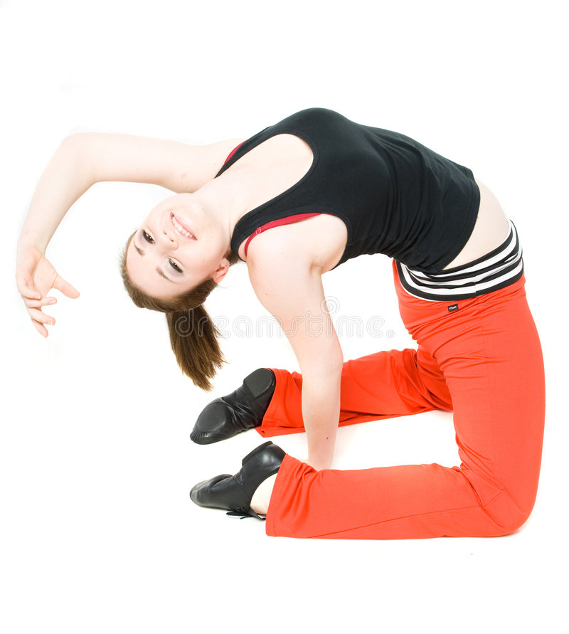 A young girl stretching stock photos
