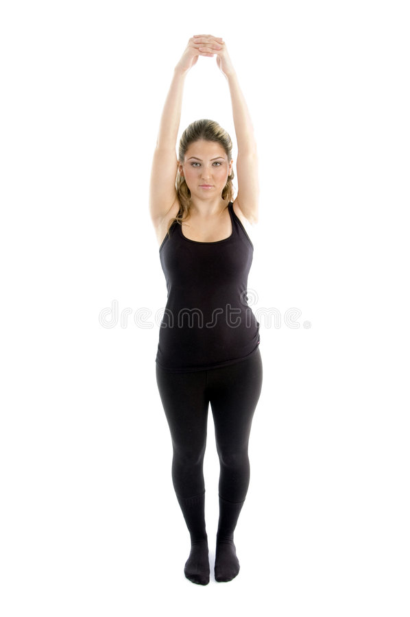 Young girl stretching her arms royalty free stock images